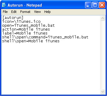 itunes mobile autorun file