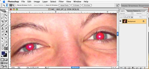 luckily red eye is very easy to fix manually in adobe photoshop   us
