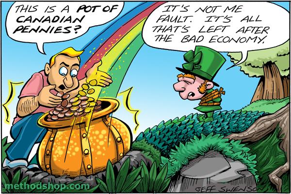 Follow The Rainbow To A Pot Of Canadian Pennies? [Cartoon] - Pot Of Pennies 1