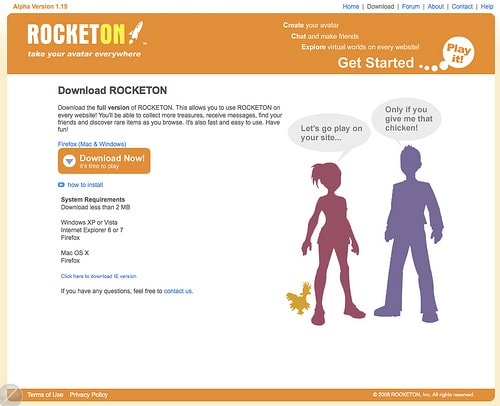 ROCKETON Install Screen