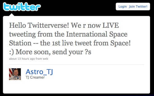 Astronaut Tj Creamer Is The First Person Ever To Tweet From Space