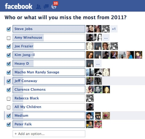 Who or what will you miss the most from 2011? [poll]
