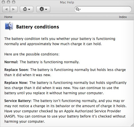 MacBook Battery Conditions