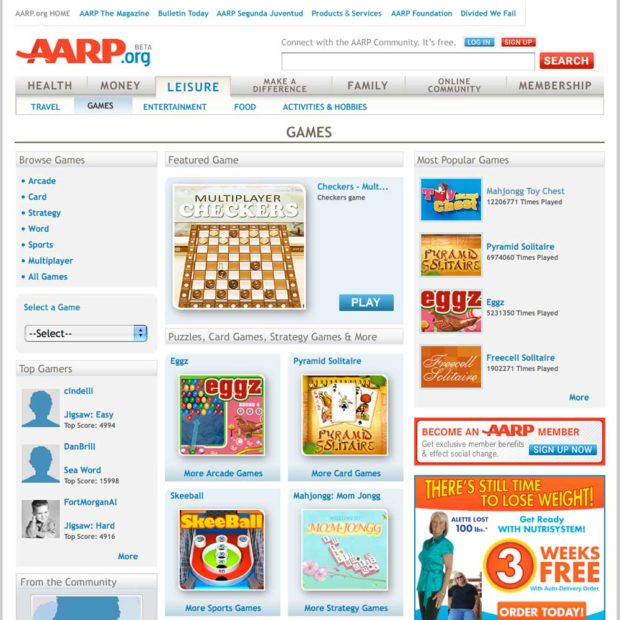 Example of the advertisements in the free games at AARP section.