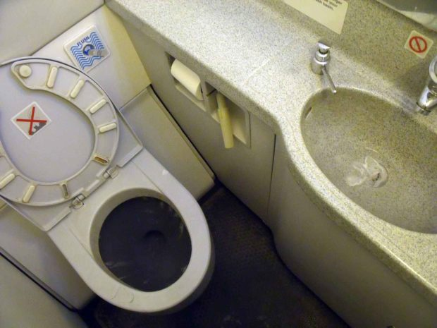 Airplane Bathroom - Ryanair Toilet Fee