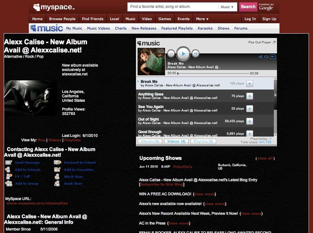 Alexx Calise: Myspace (2010)