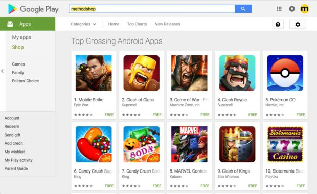 Google Play Store Top 10 Grossing Apps