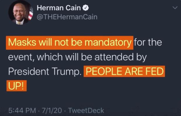 Herman Cain: Anti-Mask Tweet