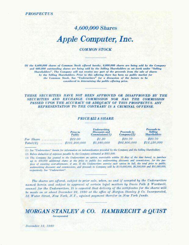 Apple Computer IPO 1980