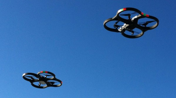 Two AR Drone's Flying in the Sky