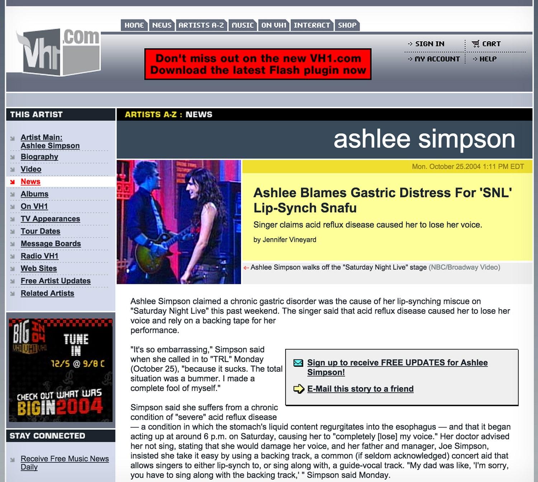 Acid Reflux: Ashlee Simpson's Lip Sync Fail on SNL