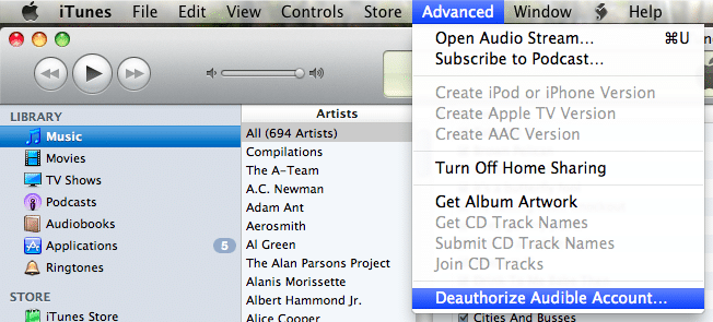 iTunes Deauthorize Audible