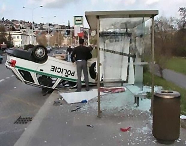 Police Car Crashed Into A Bus Stop