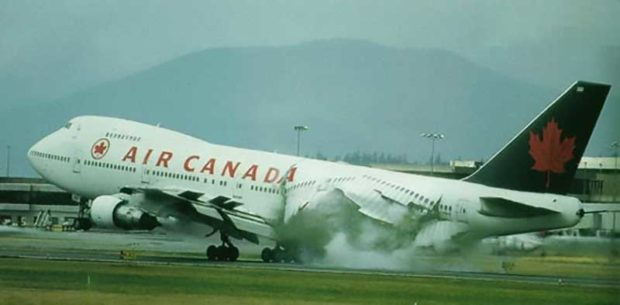 Air Canada Plane Looses It Guts On The Runway