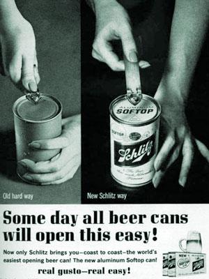 New Schlitz Way of Opening Beer Cans