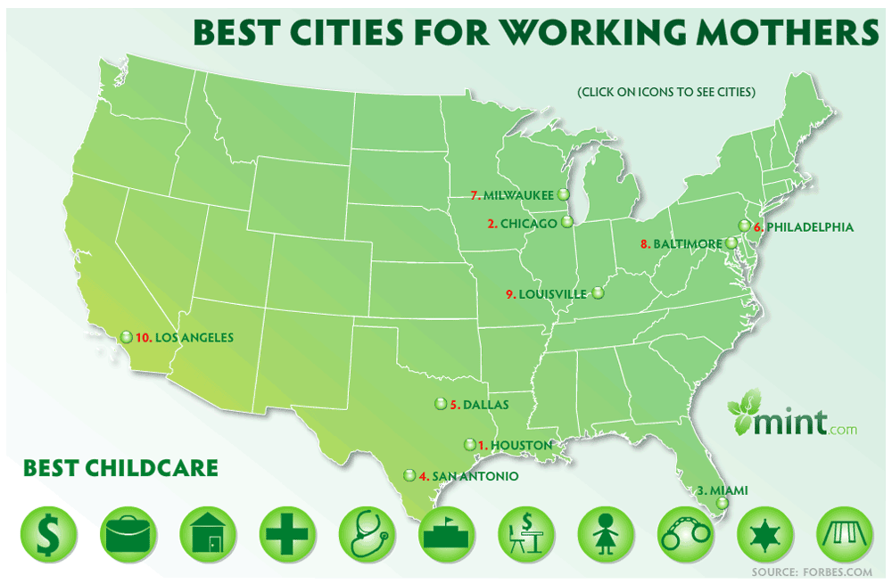 Best Cities In America For Working Mothers: Best Childcare