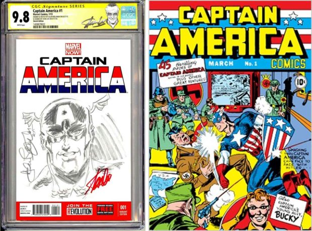 The Captain America character was introduced to comic book fans in December 1940, a year before the attack on Pearl Harbor and America's entrance into World War II. The very popular cover of Captain America #1 features Captain America punching Nazi leader Adolf Hitler in the face.