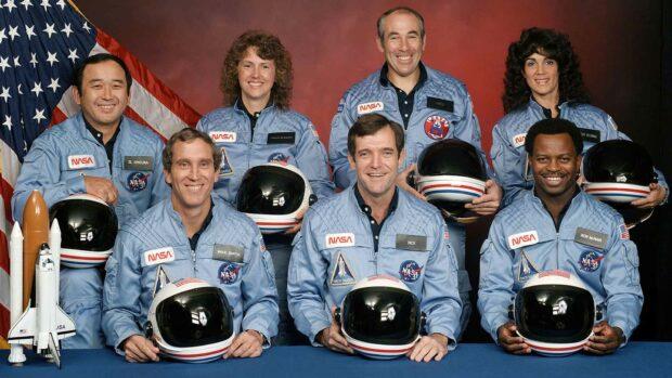 Space Shuttle Challenger Crew: Gregory Jarvis, Dick Scobee, Michael Smith, Ronald Mcnair, Judy Resnik, Christa Mcauliffe, And Ellison Onizuka.