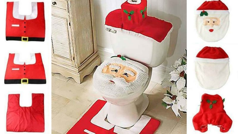 This Tacky Christmas Toilet Seat Cover Set Will Help You Poop With Holiday Cheer