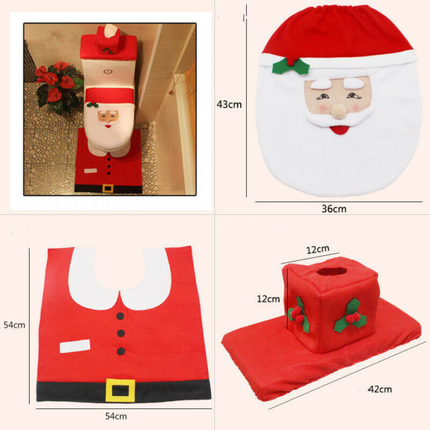 This Christmas Toilet Seat Cover And Rug Set Is The Ultimate Tacky Christmas Decoration