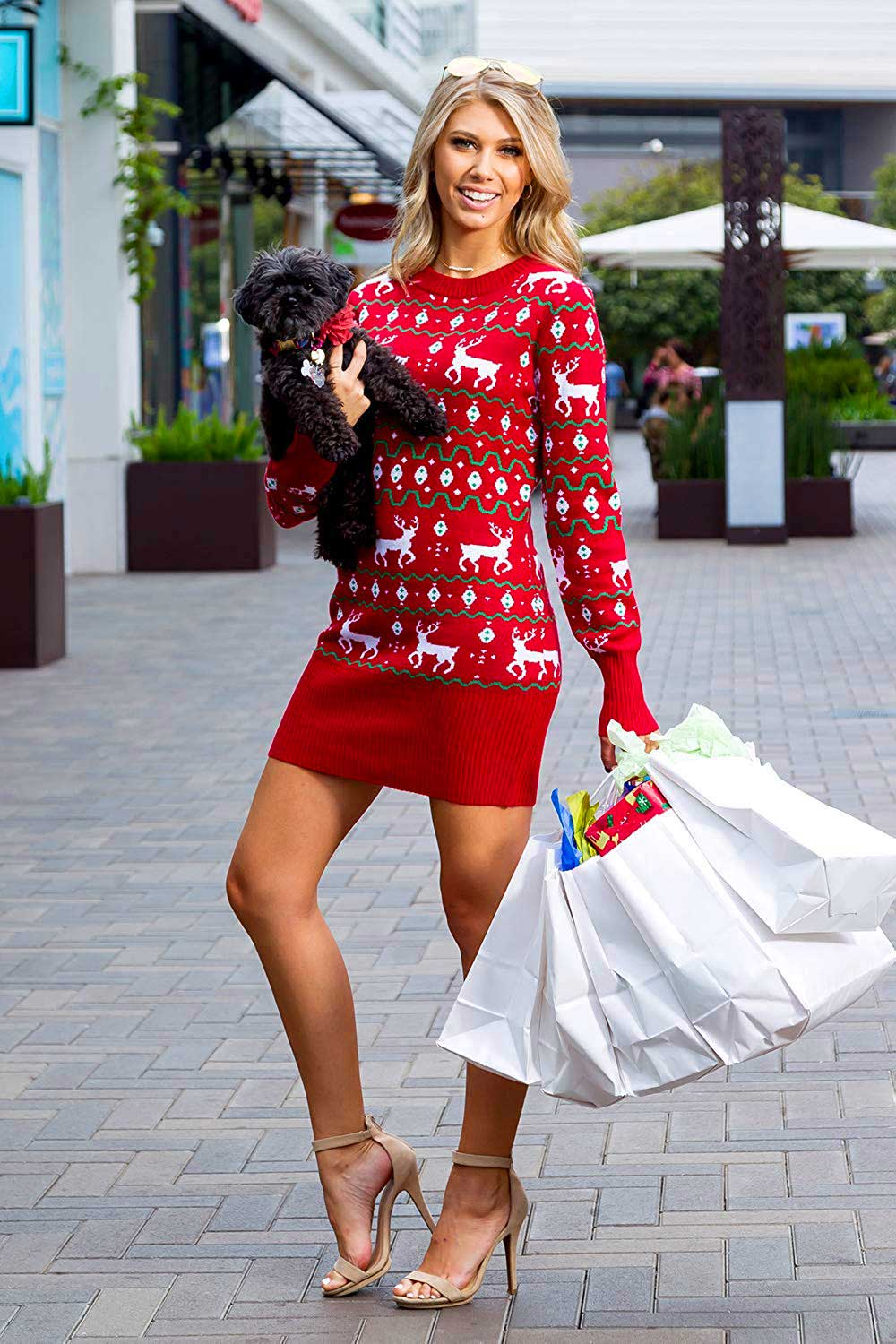 4 Cute Holiday Dress Ideas - What To Wear To A Holiday Party - Christmas Reindeer Sweater Dress 1