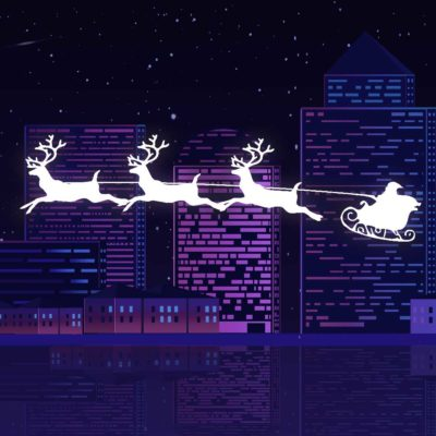 Santa Claus Flying His Sleigh Through A City