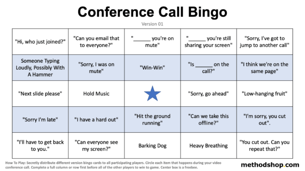 Audio Conference Call Bingo