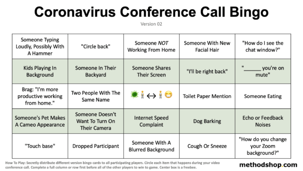Coronavirus Conference Call Bingo Card