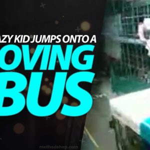 Crazy Kid Jumps Onto A Moving Bus