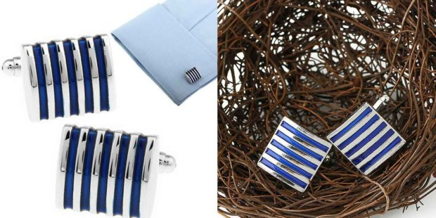 Men's Cufflinks - Blue Stripes