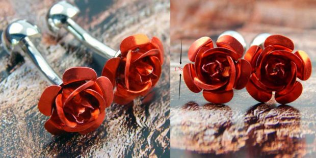 Red Rose Men's Cufflinks