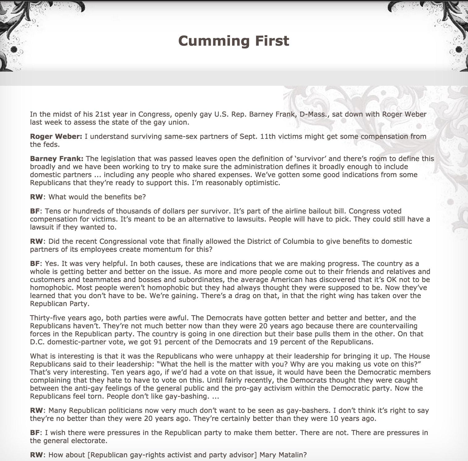 cumming first