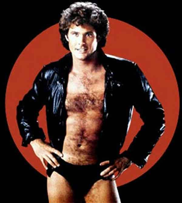 David Hasselhoff Wearing A Leather Jacket And Underwear