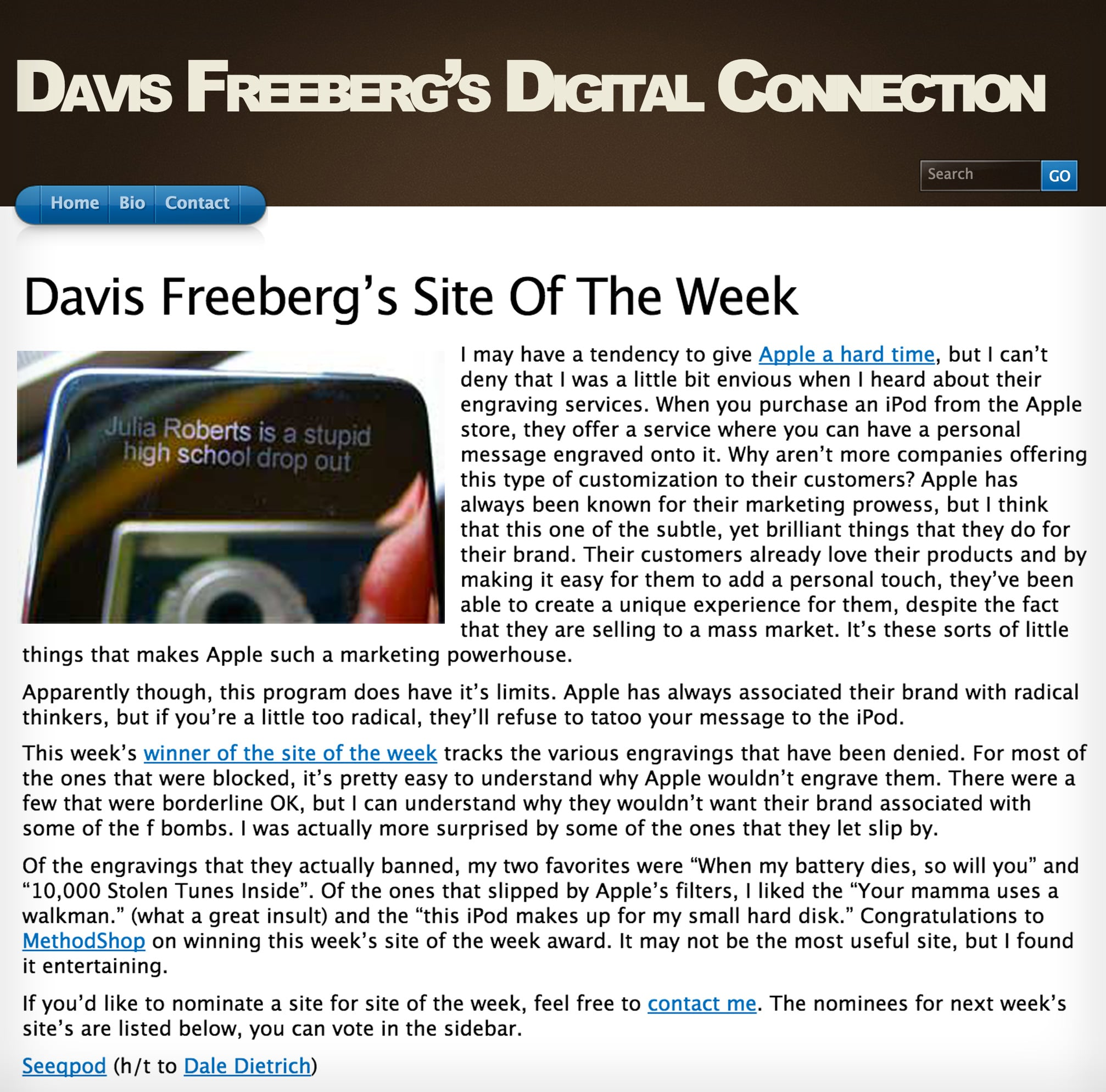 Davis Freeberg's Site Of The Week: MethodShop