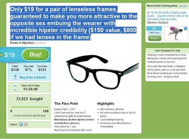 Deals for Hipsters - April Fools Internet Jokes