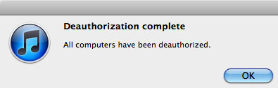 Itunes Deauthorization Complete