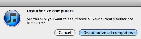 iTunes Deauthorize All Computers