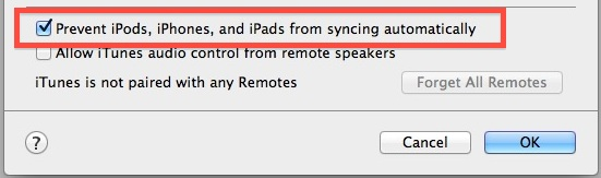 Disable iPod Auto Sync in iTunes