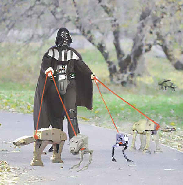 Darth Vader Taking His Imperial Walkers For A Walk - Funny Star Wars Pictures