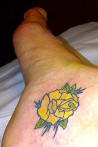 Yellow Rose Tattoo On My Foot
