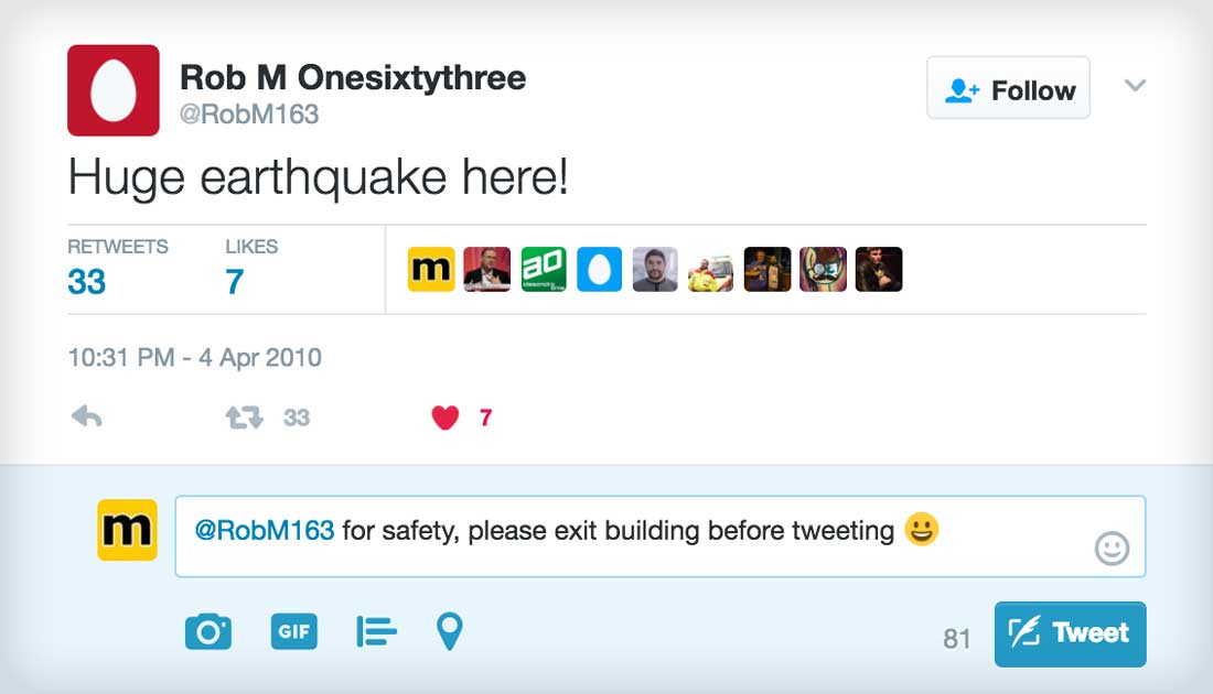 In Case Of Earthquake Exit Building Before Tweeting About It