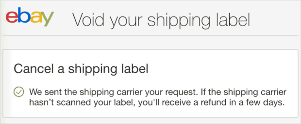 eBay Void Shipping Label Notice