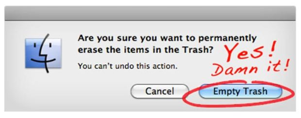 Are you sure you want to permanently erase the items in the Trash?