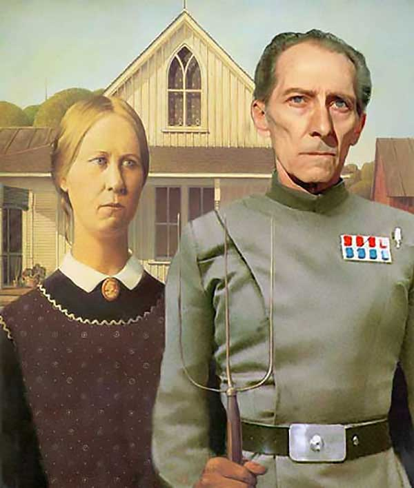 Star Wars Art: Imperial Gothic: Grand Moff Tarkin As The Farmer In &Quot;American Gothic&Quot;