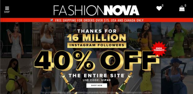 Fashion Nova Instagram Sales