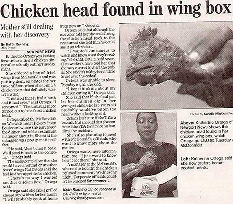 Fried Chicken Head Headline in Newspaper