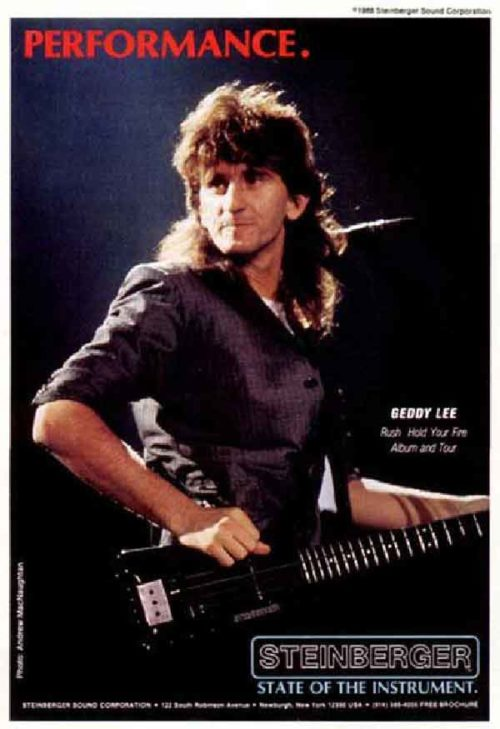 Geddy Lee From Rush In An Ad For Steinberger Guitars
