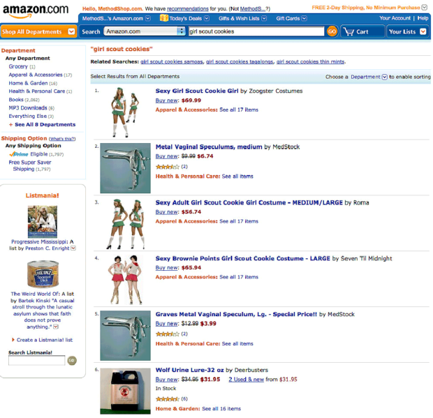 A Search For 'Girl Scout Cookies' On Amazon Returns Some Strange Results