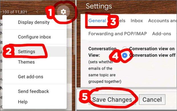 Gmail Disable Conversation View