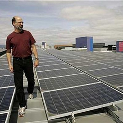 Google's Green Energy Czar Bill Weih Inspecting Solar Panels